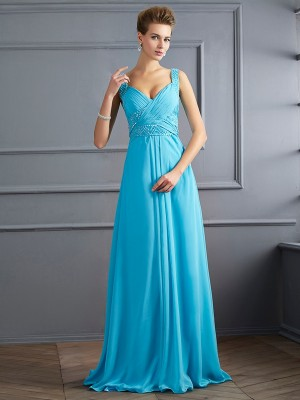 A-Line/Princess Straps Sleeveless Floor-Length Chiffon Dresses with Pleats