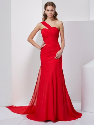 A-Line/Princess One-Shoulder Sleeveless Sweep/Brush Train Chiffon Dresses with Pleats