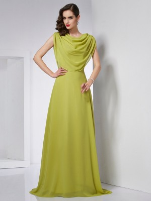 A-Line/Princess High Neck Sleeveless Sweep/Brush Train Chiffon Dresses with Pleats