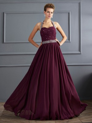 Sheath/Column Halter Sleeveless Floor-Length Chiffon Dresses with Beading