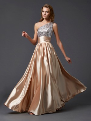 A-Line/Princess One-Shoulder Sleeveless Floor-Length Elastic Woven Satin Dresses with Paillette