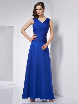 A-Line/Princess V-neck Sleeveless Ankle-Length Chiffon Dresses with Pleats