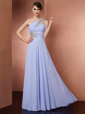 A-Line/Princess One-Shoulder Sleeveless Sweep/Brush Train Chiffon Dresses with Beading Applique