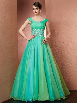 Ball Gown Off-the-Shoulder Sleeveless Floor-Length Satin Dresses with Beading