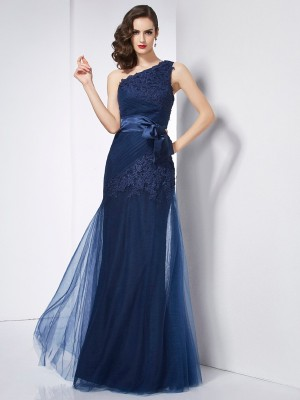 A-Line/Princess One-Shoulder Sleeveless Floor-Length Satin Organza Net Dresses with Applique
