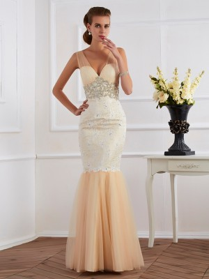 Trumpet/Mermaid Straps Sleeveless Floor-Length Lace Net Dresses with Beading