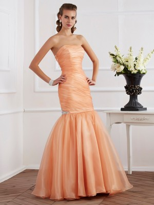 Trumpet/Mermaid Strapless Sleeveless Floor-Length Tulle Dresses with Beading