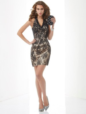 Sheath/Column Halter Sleeveless Short/Mini Lace Dresses with Lace