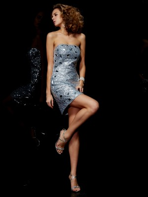 Sheath/Column Strapless Sleeveless Short/Mini Lace Dresses with Lace Paillette