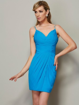 Sheath/Column Spaghetti Straps Sleeveless Short/Mini Chiffon Dresses with Beading