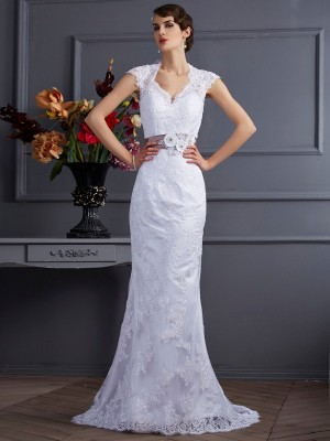 Trumpet/Mermaid Other Sleeveless Sweep/Brush Train Satin Wedding Dresses with Applique Lace