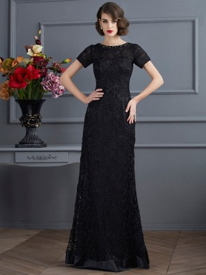 Sheath/Column High Neck Short Sleeves Floor-Length Elastic Woven Satin Lace Dresses with Lace
