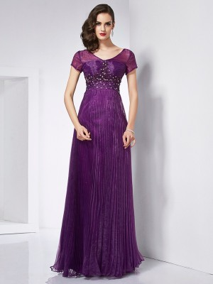 A-Line/Princess V-neck Short Sleeves Floor-Length Organza Dresses with Beading