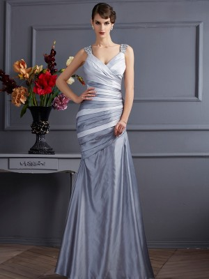 Trumpet/Mermaid Straps Sleeveless Floor-Length Satin Dresses with Pleats