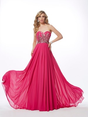 A-Line/Princess Sweetheart Sleeveless Sweep/Brush Train Chiffon Dresses with Pleats