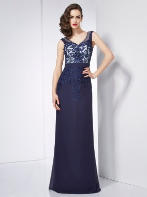 Sheath/Column V-neck Sleeveless Floor-Length Chiffon Dresses with Beading Applique