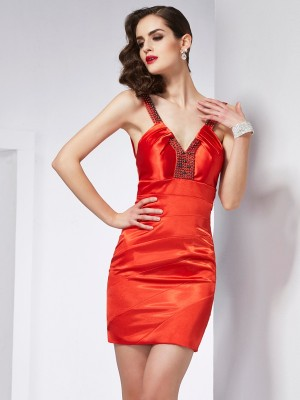 Sheath/Column V-neck Sleeveless Short/Mini Elastic Woven Satin Dresses with Beading