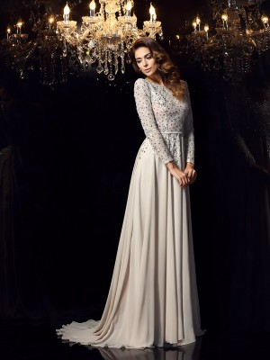 A-Line/Princess Scoop Long Sleeves Court Train Chiffon Dresses with Beading