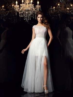 A-Line/Princess Scoop Short Sleeves Floor-Length Tulle Dresses with Beading