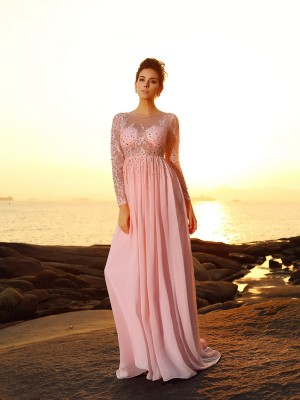 A-Line/Princess Bateau Long Sleeves Sweep/Brush Train Chiffon Dresses with Beading