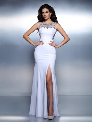 Trumpet/Mermaid Bateau Sleeveless Floor-Length Chiffon Dresses with Beading