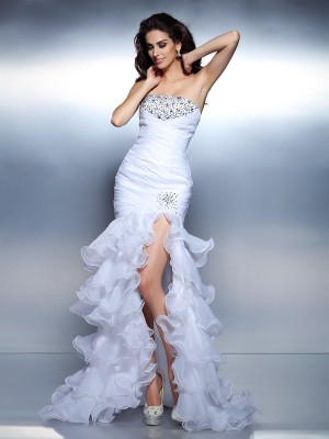 Trumpet/Mermaid Strapless Sleeveless Floor-Length Organza Dresses with Beading Ruched