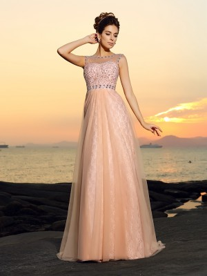 A-Line/Princess Bateau Sleeveless Floor-Length Chiffon Dresses with Lace