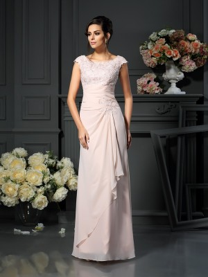 A-Line/Princess Scoop Sleeveless Floor-Length Chiffon Mother of the Bride Dresses with Lace