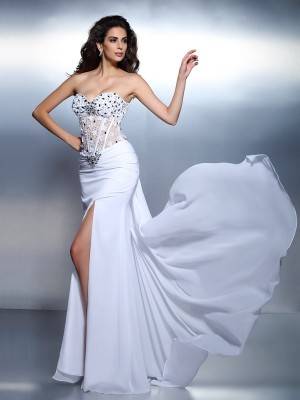 Trumpet/Mermaid Sweetheart Sleeveless Floor-Length Chiffon Dresses with Pleats