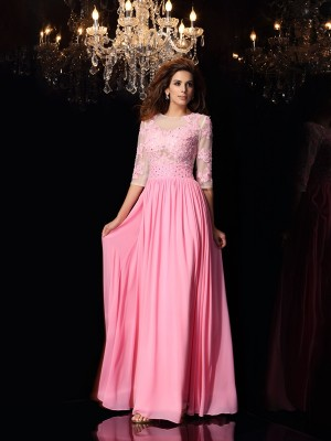 A-Line/Princess Scoop 1/2 Sleeves Floor-Length Silk like Satin Dresses with Applique