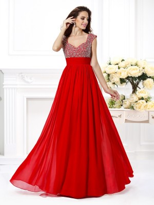 A-Line/Princess Straps Sleeveless Floor-Length Chiffon Dresses with Beading Paillette