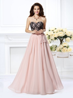 A-Line/Princess Sweetheart Sleeveless Floor-Length Chiffon Dresses with Lace