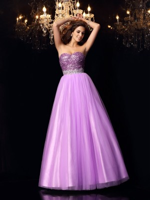 Ball Gown Sweetheart Sleeveless Floor-Length Elastic Woven Satin Dresses with Sequin