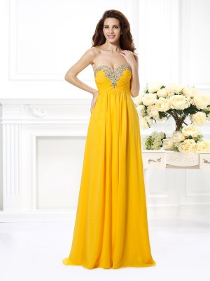 A-Line/Princess Sweetheart Sleeveless Floor-Length Chiffon Dresses with Beading