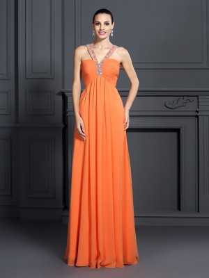 A-Line/Princess Halter Sleeveless Floor-Length Chiffon Dresses with Beading