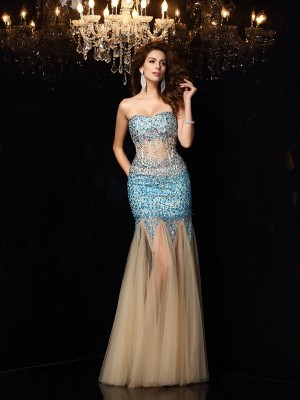 Sheath/Column Sweetheart Sleeveless Floor-Length Net Dresses with Beading