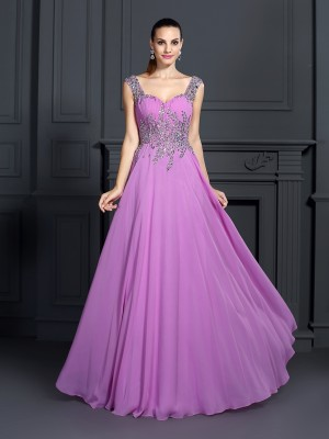 A-Line/Princess Straps Sleeveless Floor-Length Chiffon Dresses with Beading