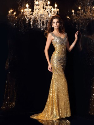 Trumpet/Mermaid Straps Sleeveless Floor-Length Sequins Dresses with Rhinestone