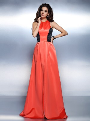 A-Line/Princess High Neck Sleeveless Floor-Length Satin Dresses