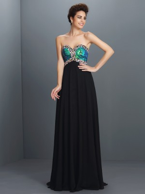 A-Line/Princess Sweetheart Sleeveless Floor-Length Chiffon Dresses with Paillette