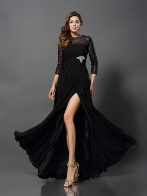 A-Line/Princess Bateau 3/4 Sleeves Floor-Length Lace Dresses