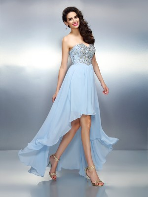 A-Line/Princess Sweetheart Sleeveless Asymmetrical Chiffon Dresses with Ruffles