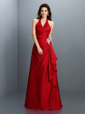 A-Line/Princess Halter Sleeveless Floor-Length Taffeta Dresses with Beading