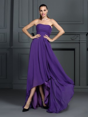 A-Line/Princess Strapless Sleeveless Asymmetrical Chiffon Dresses with Pleats