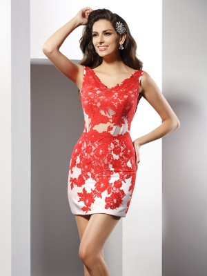 Sheath/Column V-neck Sleeveless Short/Mini Satin Dresses with Applique