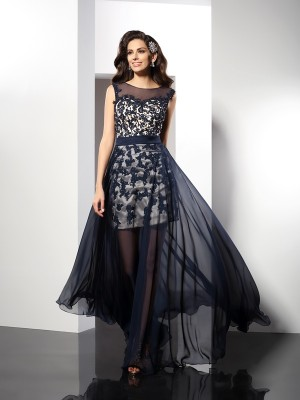 A-Line/Princess Scoop Sleeveless Floor-Length Elastic Woven Satin Dresses