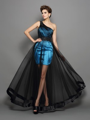 A-Line/Princess One-Shoulder Sleeveless Floor-Length Elastic Woven Satin Ruched Dresses