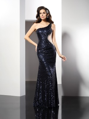 Sheath/Column One-Shoulder Sleeveless Floor-Length Sequins Dresses with Sequin