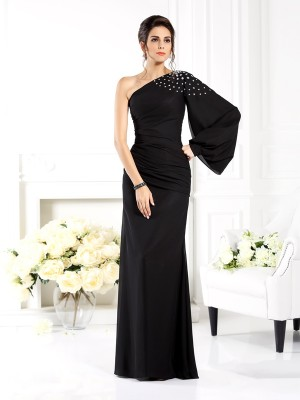 Sheath/Column One-Shoulder Long Sleeves Floor-Length Chiffon Dresses with Beading