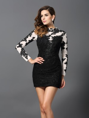 Sheath/Column High Neck Long Sleeves Short/Mini Lace Dresses with Applique
